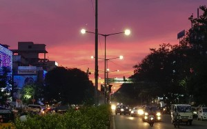When the sky dresses in red for Diwali